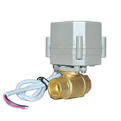 Válvula de bola motorizada AC/DC9-24 V de latón, válvula de bola eléctrica de dos vías de 1 pulgada con indicador de posición, con múltiples métodos de cableado