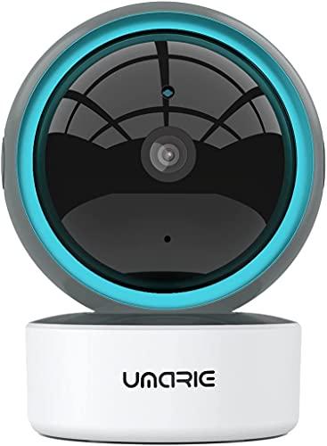 Telecamera Wi-Fi Interno, UMARIE 1080P Videocamera di Sorveglianza 360 Gradi, Tracciamento del Movimento, Visione Notturna, Audio Bidirezionale, Avviso Applicazione Compatibile con Alexa Google Home