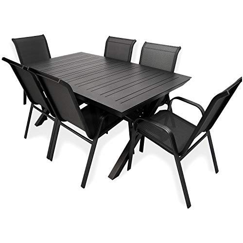 Conjunto de Exterior, Mesa jardín Extensible 170/240 cm y 6 sillones apilables con Respaldo de 96 cm, Aluminio Color Antracita, 6 plazas