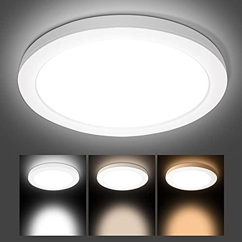 Hidixon 18W LED Deckenleuchte, 1700LM LED Deckenlampe Ultra Slim, 3000K/4000K/6000K 3 Farbig Rund LED Lampen Deckenlampen für Schlafzimmer, Badezimmer, Wohnzimmer, Balkon, Flur, Büro, Küche, Ø22cm