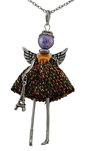Hanessa Damen-Schmuck Silberne Hals-Kette mit Puppe mit Engel-Flügel-Anhänger Zinklegierung in Silber mit Eifelturm und bunten Kleid Geschenk zum Valentinstag für die Frau/Freundin/Frauen