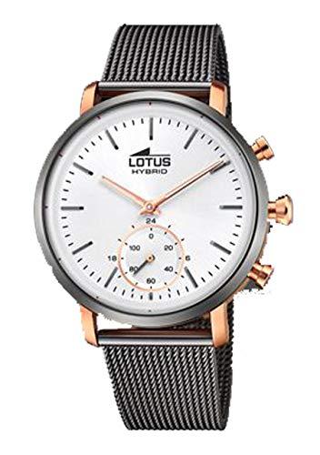 Reloj Lotus Hibrido 18805/1 - Reloj con armis de Acero Inoxidable Acabado Gris y Caja en Acero Rosado.