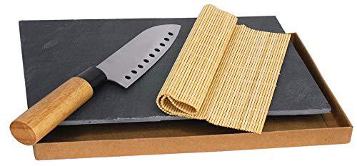 Kit Sushi Plato Bandeja Pizarra Salvamanteles Bamboo Cuchillo Acero