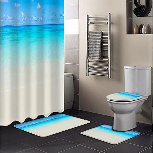 ZSYNB Juego de 4 piezas de cortina de ducha con estampado de paisaje de océano azul impermeable y duradero, tela de poliéster lavable a máquina para decoración del hogar cortina de ducha