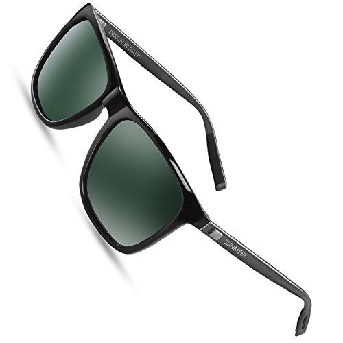 Sunmeet Gafas de sol Hombre Polarizadas Clásico Retro Gafas de sol para Hombre UV400 Protection S1001(Verde/Pistola)