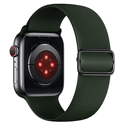 Tasikar Compatibile con Cinturino Apple Watch 44mm 42mm, Cinturini di Ricambio Silicone Morbido, Cinturino Sportivo Elastico Regolabile Compatibile con Apple Watch SE Serie 6 5 4 3 2 1 (Verde Scuro)