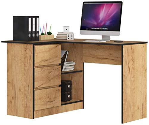 ADGO B16 - Mesa de ordenador esquinera de madera (124 x 77 x 85 cm, 3 cajones para un espacio para niños y adolescentes, taller y oficina, a la izquierda, trabajo de roble)