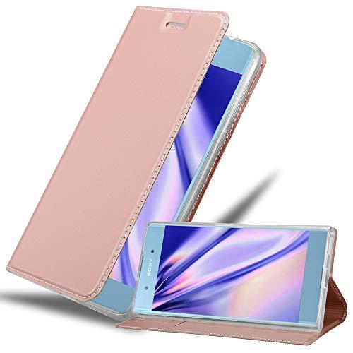 Cadorabo Hülle für Sony Xperia XA1 Plus - Hülle in ROSÉ Gold – Handyhülle mit Standfunktion & Kartenfach im Metallic Erscheinungsbild - Hülle Cover Schutzhülle Etui Tasche Book Klapp Style