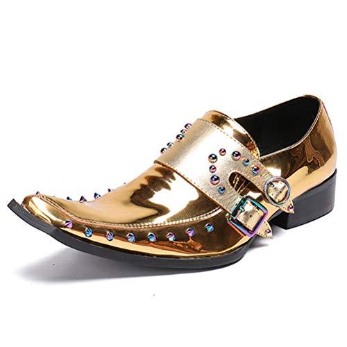Insole Herren Lederschuh, Quadratisch Kopf Strass Doppelriemen Beleg Auf Beiläufigen Schuhe Für Männer Büro Brautkleid,Gold,46