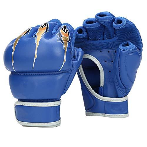 TLJF Boxhandschuhe Half-Finger Boxhandschuhe Erwachsener Sanda Kampfsport Kampf Taekwondo Sandsack-Handschuhe Fingerlose Handschuhe (EIN Paar) Boxhandschuhe (Color : Blue, Size : 7oz)