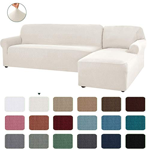 CHUN YI Stretch Sectional Couch Covers Soft L-Shaped Sofa Slipcovers with Elastic Bootm , Jacquard Chaise Lounge Set for Living Room 2 Seat Protector (Right Chaise,Ivory White)
