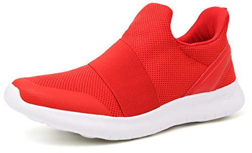 WHITIN Tennis Shoes for Women Slipon Wide Width Nursing Mesh Best Walking Casual Workout Athletic Exercise Stylish Sneakers with Memory Foam Red Size 9