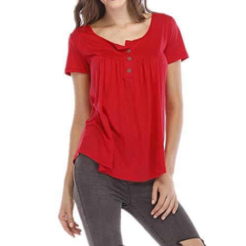 IHEHUA Tops Camisetas de mujer de un solo color, blusa de manga corta, con botones, mallas, sueltas, moda urbana, camiseta, túnica, disfraz, sudadera. rojo XXXXXL