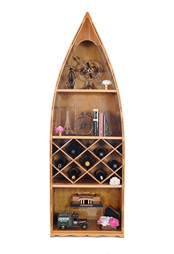 Wooden Boat USA Old Modern Handicrafts Canoe Wine Shelf Collectible