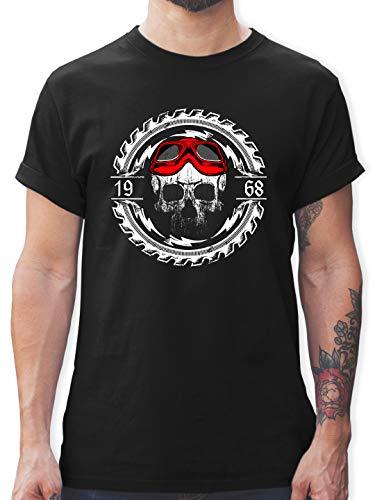 Biker - 50. Geburtstag Jahrgang 1968 Totenkopf - XXL - Schwarz - Shirt mit Totenkopf grün - L190 - Das Beste Männer Shirt von #RedSkullBikerFashion