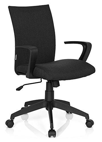 hjh OFFICE 723042 bureaustoel SOFT stof zwart met armleuningen draaistoel met en gestoffeerd verstelbaar bureau chair