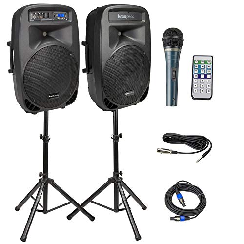"""Knox Dual 15"""" Speakers, 600 Watt - 8 Piece Portable PA System - Microphone, Tripods, Remote Control - Bluetooth, USB, SD Card, RCA and 1/4"""" Inputs - Colorful LED Lights"""