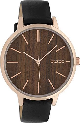 Oozoo Damenuhr mit Lederband 42 MM Rose/Dunkelbraun Holz/Schwarz C9749