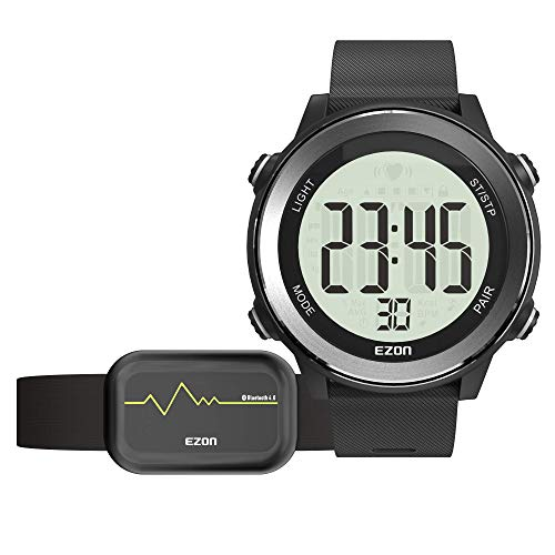 EZON Running Digital Watch Heart Rate Monitor Chest Strap Waterproof with Chronograph Calorie Counter Large Display for Men Black T057A11