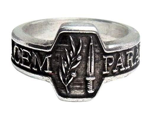 """MK-art anello con motto """"Si vis pacem, para bellum"""" (""""Se vuoi la pace, prepara la guerra"""")"""