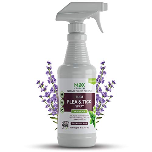 mdxconcepts Zuba Organic Dog's Flea and Tick Control Spray - Treatment for Dogs –100% Natural –Essential Oils –Safe to Use –16 oz