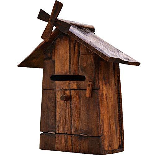 Briefkasten Wandbriefkästen Rustikaler Briefkasten Aus Holz Postfach, Wand- oder Freistehender Briefkasten, Wahlurne, Vintage Haus Design