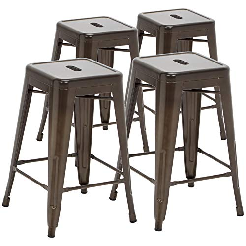 Pioneer Square Haley 24-Inch Backless Square-Seated Counter-Height Metal Stool, Set of 4, Chestnut Brown