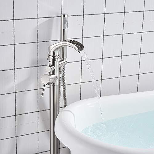 Senlesen Bathroom Single Handle Freestanding Bathtub Faucet Floor Mounted Waterfall Tub Filler with Hand Shower Set Brushed Nickel Finished