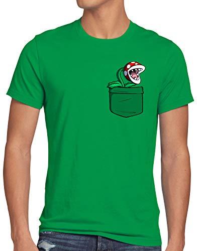 style3 Planta Piraña Bolsillo Camiseta para Hombre T-Shirt Pocket Mario Switch SNES, Talla:S, Color:Verde