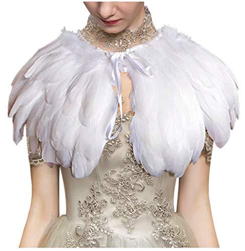 L'VOW Damen Gothic Federn Cape Schal Umschlagtücher Federkragen Maleficent Kostüm (Weiß)