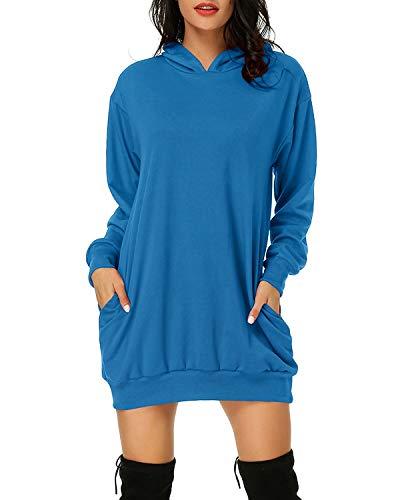 Auxo Damen Hoodie Kleid Pullover Langarm Sweatshirts Kapuzenpullover Tops Herbst Mini Kleid 01-Klassisches Blau S