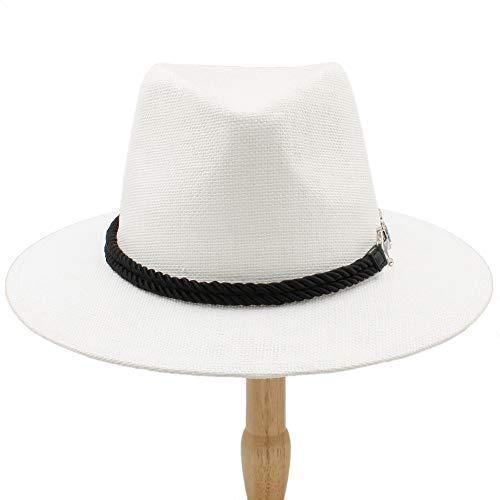 HYF Sombrero de Jazz Retro británico para Hombre Sombrero panameño Sombreros Fedora Fedoras Algodón A Cuadros Primavera Otoño (Color : Blanco, tamaño : 56-58cm)
