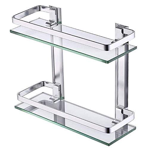 DXMRWJ Toallero Perforación Baño Esquinero Estante de Vidrio Estantes Cuadrados de Vidrio Templado de 2 Niveles con Espacio Riel de Aluminio Montado en la Pared 14 Pulgadas 02.01