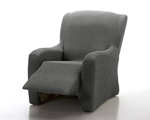 Textil-home Stretchhusse für Relaxsessel Komplett Marian, Elastisch Bezug für Fernsehsessel Liege - 1 Sitzer - 70 a 100Cm. Farbe Grey