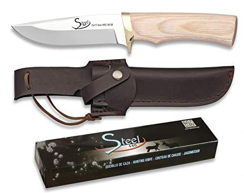 Cuchillo STEEL440 Funda Piel Hoja 11 para Caza, Pesca, Camping, Outdoor, Supervivencia y Bushcraft Steel 440 32050 + Portabotellas de regalo