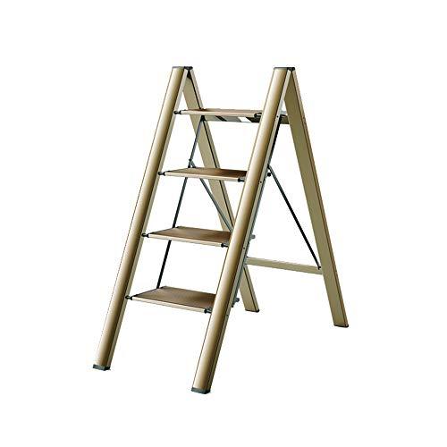 Casa 4 gradini scaletta a spina di pesce pieghevole scala ispessito in lega di alluminio scala multifunzione camera built-in fiore stand pony sgabello scala, Oro, 4-step ladder