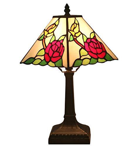 NANXCYR Lámpara De Mesa Estilo Tiffany, 11 Pulgadas Europea Arte Deco Vitrales Roja Rosa Lámparas De Escritorio Lámpara De Noche Lámpara De Lectura para Sala De Estar Dormitorio