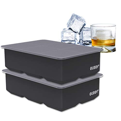 Ouddy 2 Pack Ice Cube Tray, Silicone Ice Cube Tray with Lid 6 Large Cavities for Making 12 Pcs Ice...