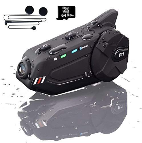MHCYKJ Motorcycle Bluetooth Intercom with 1080P Camera Recorder FM Radio Microphone 1000M 6Riders BT 5.0 IP65 Voice Calling 1500mAh Battery Motorcycle Helmet Bluetooth,Soft Wheat