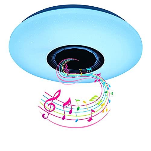 Lamparas de Techo LED con Altavoz Bluetooth, 60W Lamparas de Techo Dormitorio Con Mando Distancia, Plafones para Techo para Dormitorios Cocinas Pasillos y Salas de Estar