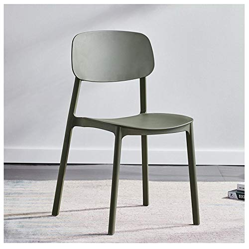QingT Sedia da Pranzo nordica/Sedia in plastica per Uso Domestico/Moderna Sedia da scrivania Semplice/Sedia per Il Trucco dello Schienale-Army Green