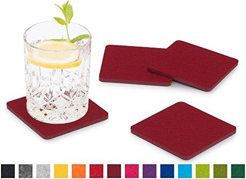 FILU Filzuntersetzer eckig 8er Pack (Farbe wählbar) bordeaux/dunkelrot - Untersetzer aus Filz für Tisch und Bar als Glasuntersetzer/Getränkeuntersetzer für Glas und Gläser rechteckig viereckig
