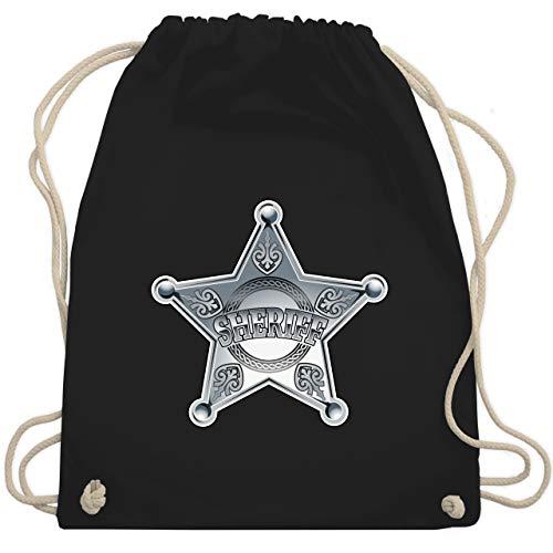 Karneval & Fasching - Cowboy Sheriff Karneval Kostüm - Unisize - Schwarz - sheriff turnbeutel - WM110 - Turnbeutel und Stoffbeutel aus Baumwolle