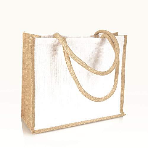 Jute statt Plastik Original | JB1415MWN | Jutetasche weiß | Einkaufstasche Jutebeutel Einkaufsbeutel | Fair & Nachhaltig | Shopping Einkauf (1)
