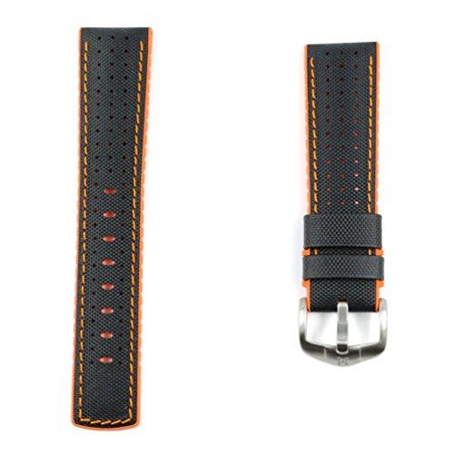 HIRSCH Performance | Ersatzband Uhrenarmband aus Leder/Kautschuk schwarz/orange Segeltuchoptik 30955S, Stegbreite:22mm