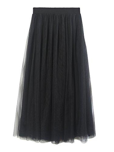 SYEEGCS Falda Larga de Tul de Alta Cintura elástica de Las Mujeres Elegante 3 Capas de Tul - Negro 90CM