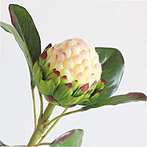 Large Protea Cynaroides European Style Artificial Flocked Emperor Flower Wedding Home Party Decoration Fake Flower
