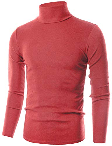 OHOO Mens Slim Fit Flice Long Sleeve Pullover Flice Turtleneck /DCT005-CORAL-M