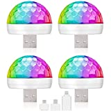 Pack of 4 Mini USB Disco Light Led Magic Disco Ball Lamps Sound Activated Multi-Color Car Atmosphere Lights Strobe Light for Home Room Party Birthday DJ Bar Karaoke Xmas Wedding Show