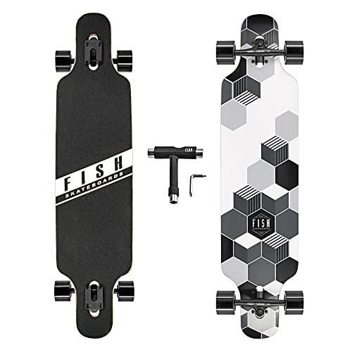 FISH SKATEBOARDS 41-Inch Downhill Longboard Skateboard Through Deck 8 Ply Canadian Maple, Complete Cruiser, Free-Style(Black Wheels)